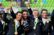 RIO DE JANEIRO, BRAZIL - AUGUST 09:  (L-R) Gold medal medalist's Karim Laghouag, Thibaut Vallette, Mathieu Lemoine and Astier Nicolas of France pose during the medal ceremony for the eventing team jumping final on Day 4 of the Rio 2016 Olympic Games at the Olympic Equestrian Centre on August 9, 2016 in Rio de Janeiro, Brazil.  (Photo by Jamie Squire/Getty Images)